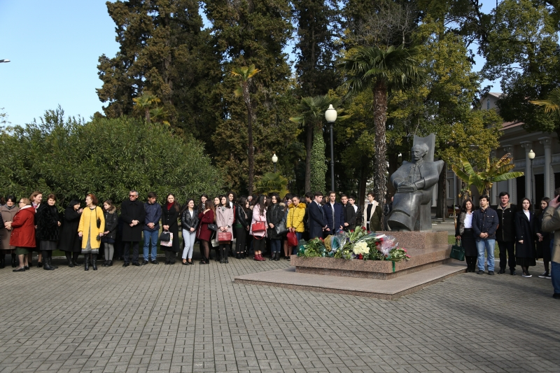 A Ceremony of Laying Flowers at the Monument to Dmitry Gulia