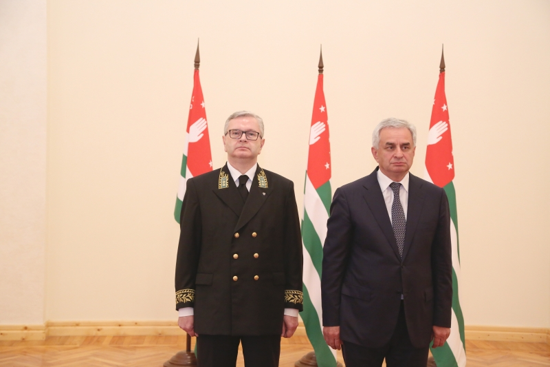 The Ceremony of the Presentation of the Credentials to the President of the Republic of Abkhazia by the Ambassador Extraordinary and Plenipotentiary of the Russian Federation