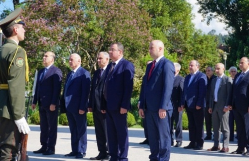The Ceremony of Laying Flowers at the Memorial in the Park of Military Glory